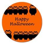 Happy Halloween - owls Magnet 5  (Round) Front