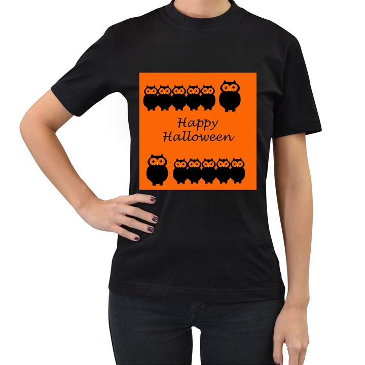 Happy Halloween - owls Women s T-Shirt (Black) (Two Sided)