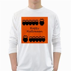Happy Halloween   Owls White Long Sleeve T Shirts