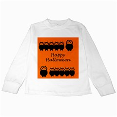 Happy Halloween   Owls Kids Long Sleeve T Shirts