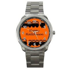 Happy Halloween   Owls Sport Metal Watch by Valentinaart