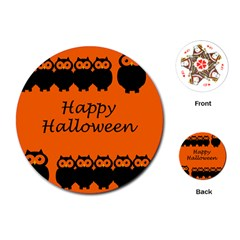 Happy Halloween   Owls Playing Cards (round)  by Valentinaart