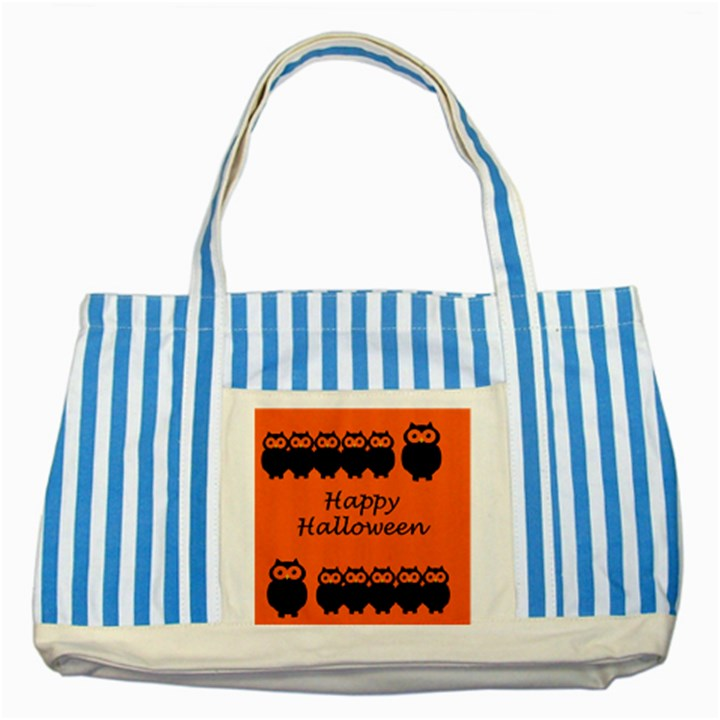 Happy Halloween - owls Striped Blue Tote Bag