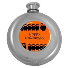 Happy Halloween - owls Round Hip Flask (5 oz)
