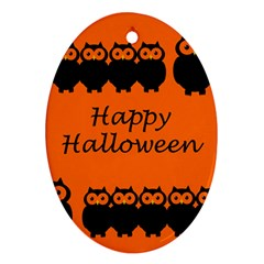 Happy Halloween   Owls Oval Ornament (two Sides)