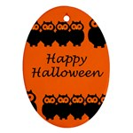 Happy Halloween - owls Oval Ornament (Two Sides) Back