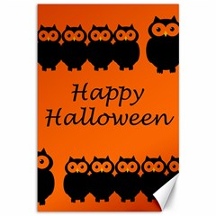 Happy Halloween   Owls Canvas 12  X 18