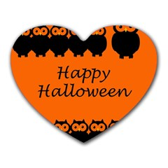 Happy Halloween - owls Heart Mousepads