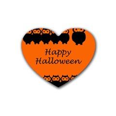 Happy Halloween - owls Heart Coaster (4 pack)