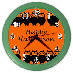 Happy Halloween   Owls Color Wall Clocks by Valentinaart