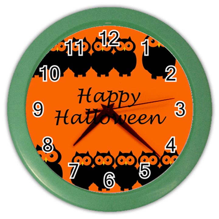 Happy Halloween - owls Color Wall Clocks