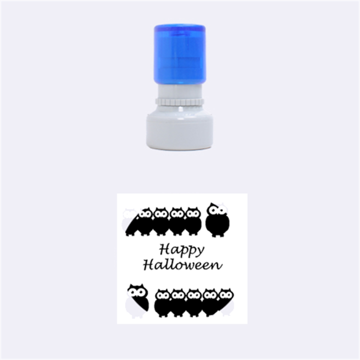 Happy Halloween - owls Rubber Round Stamps (Small)