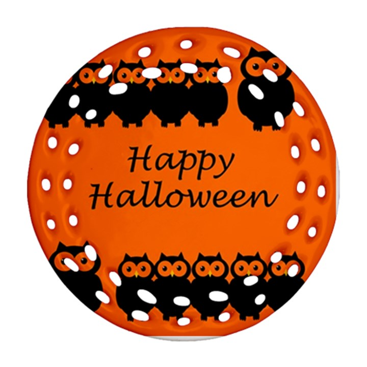 Happy Halloween - owls Round Filigree Ornament (2Side)