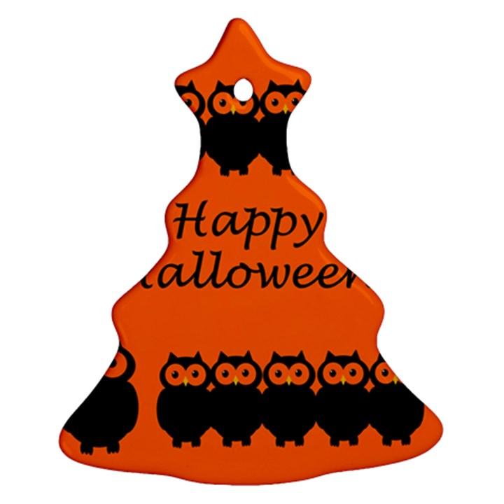 Happy Halloween - owls Christmas Tree Ornament (2 Sides)