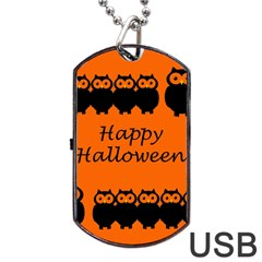 Happy Halloween - owls Dog Tag USB Flash (One Side)