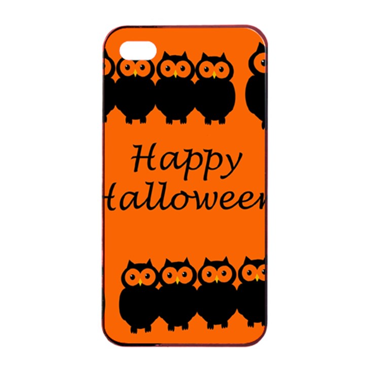 Happy Halloween - owls Apple iPhone 4/4s Seamless Case (Black)