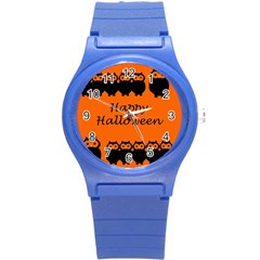 Happy Halloween   Owls Round Plastic Sport Watch (s) by Valentinaart