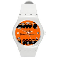 Happy Halloween   Owls Round Plastic Sport Watch (m)