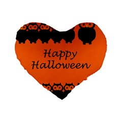 Happy Halloween   Owls Standard 16  Premium Heart Shape Cushions