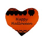 Happy Halloween - owls Standard 16  Premium Heart Shape Cushions Back