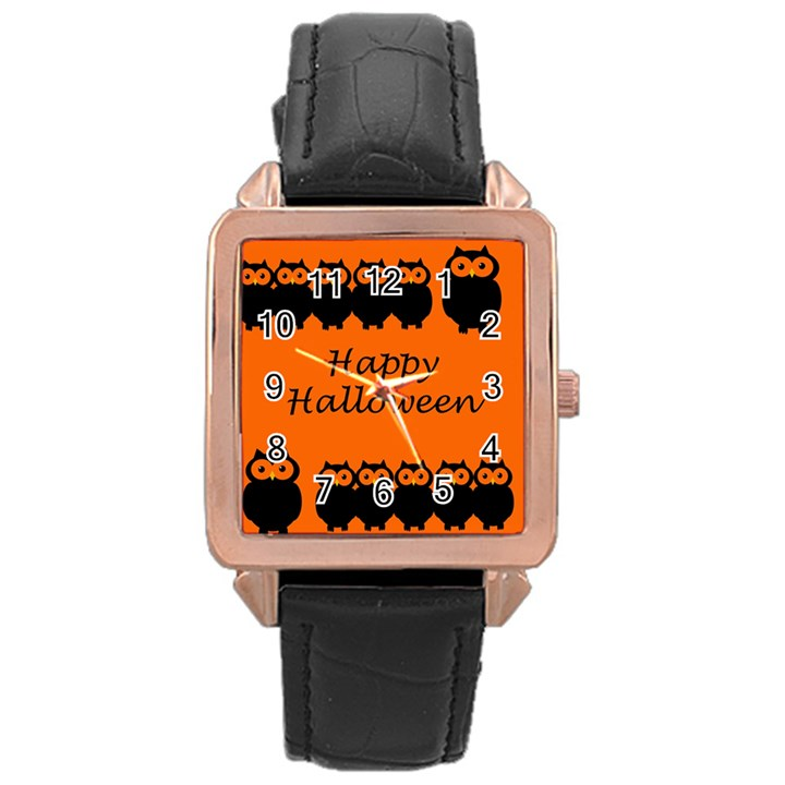Happy Halloween - owls Rose Gold Leather Watch