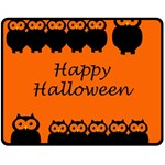 Happy Halloween - owls Double Sided Fleece Blanket (Medium)  58.8 x47.4 Blanket Front