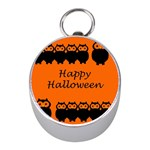 Happy Halloween - owls Mini Silver Compasses Front