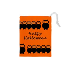 Happy Halloween   Owls Drawstring Pouches (small)