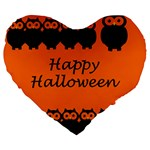 Happy Halloween - owls Large 19  Premium Flano Heart Shape Cushions Front