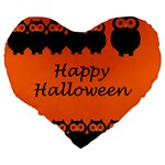 Happy Halloween - owls Large 19  Premium Flano Heart Shape Cushions Back