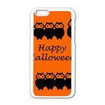 Happy Halloween - owls Apple iPhone 6/6S White Enamel Case Front