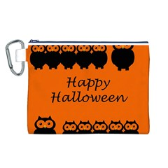Happy Halloween   Owls Canvas Cosmetic Bag (l) by Valentinaart
