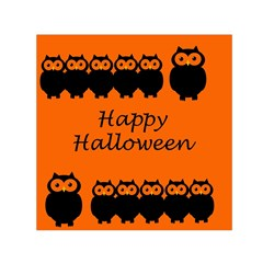 Happy Halloween   Owls Small Satin Scarf (square) by Valentinaart