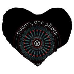 Twenty One Pilots Large 19  Premium Flano Heart Shape Cushions by Onesevenart
