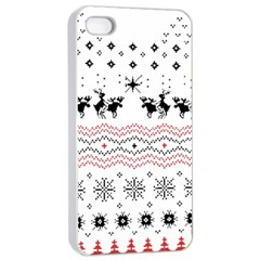Ugly Christmas Humping Apple Iphone 4/4s Seamless Case (white) by Onesevenart