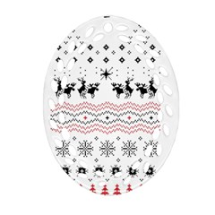 Ugly Christmas Humping Oval Filigree Ornament (2 Side)  by Onesevenart