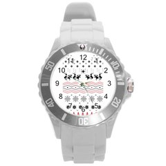 Ugly Christmas Humping Round Plastic Sport Watch (l) by Onesevenart