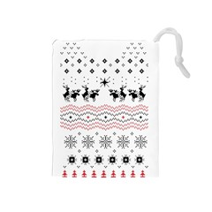 Ugly Christmas Humping Drawstring Pouches (medium)  by Onesevenart