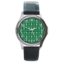 Ugly Christmas Round Metal Watch by Onesevenart
