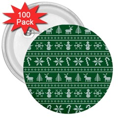 Ugly Christmas 3  Buttons (100 Pack)  by Onesevenart