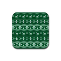 Ugly Christmas Rubber Square Coaster (4 Pack)  by Onesevenart