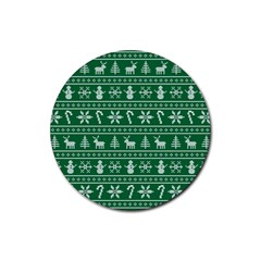 Ugly Christmas Rubber Round Coaster (4 Pack)  by Onesevenart