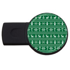 Ugly Christmas Usb Flash Drive Round (2 Gb)  by Onesevenart