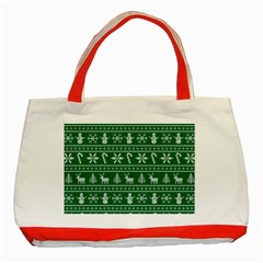 Ugly Christmas Classic Tote Bag (red) by Onesevenart