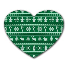 Ugly Christmas Heart Mousepads by Onesevenart
