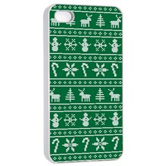 Ugly Christmas Apple Iphone 4/4s Seamless Case (white) by Onesevenart