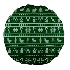 Ugly Christmas Large 18  Premium Round Cushions by Onesevenart