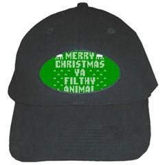Ugly Christmas Ya Filthy Animal Black Cap by Onesevenart