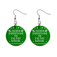 Ugly Christmas Ya Filthy Animal Mini Button Earrings by Onesevenart