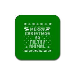 Ugly Christmas Ya Filthy Animal Rubber Square Coaster (4 Pack)  by Onesevenart
